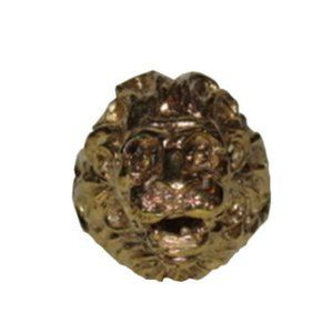 18 kt Gold Vermeil over Brass Etruscan Lion Profil